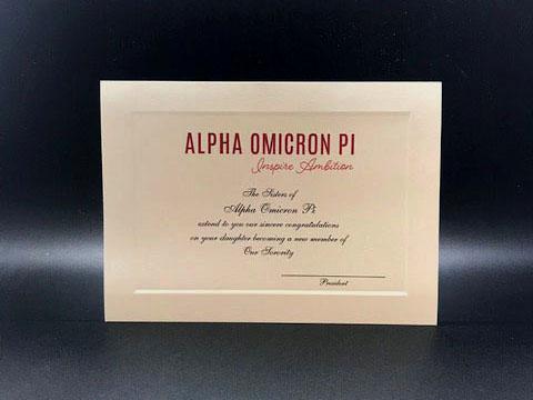 Official Parent Congratulations New Member Alpha Omicron Pi