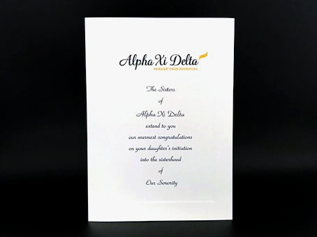 Official Parent Congratulation Initiation Alpha Xi Delta