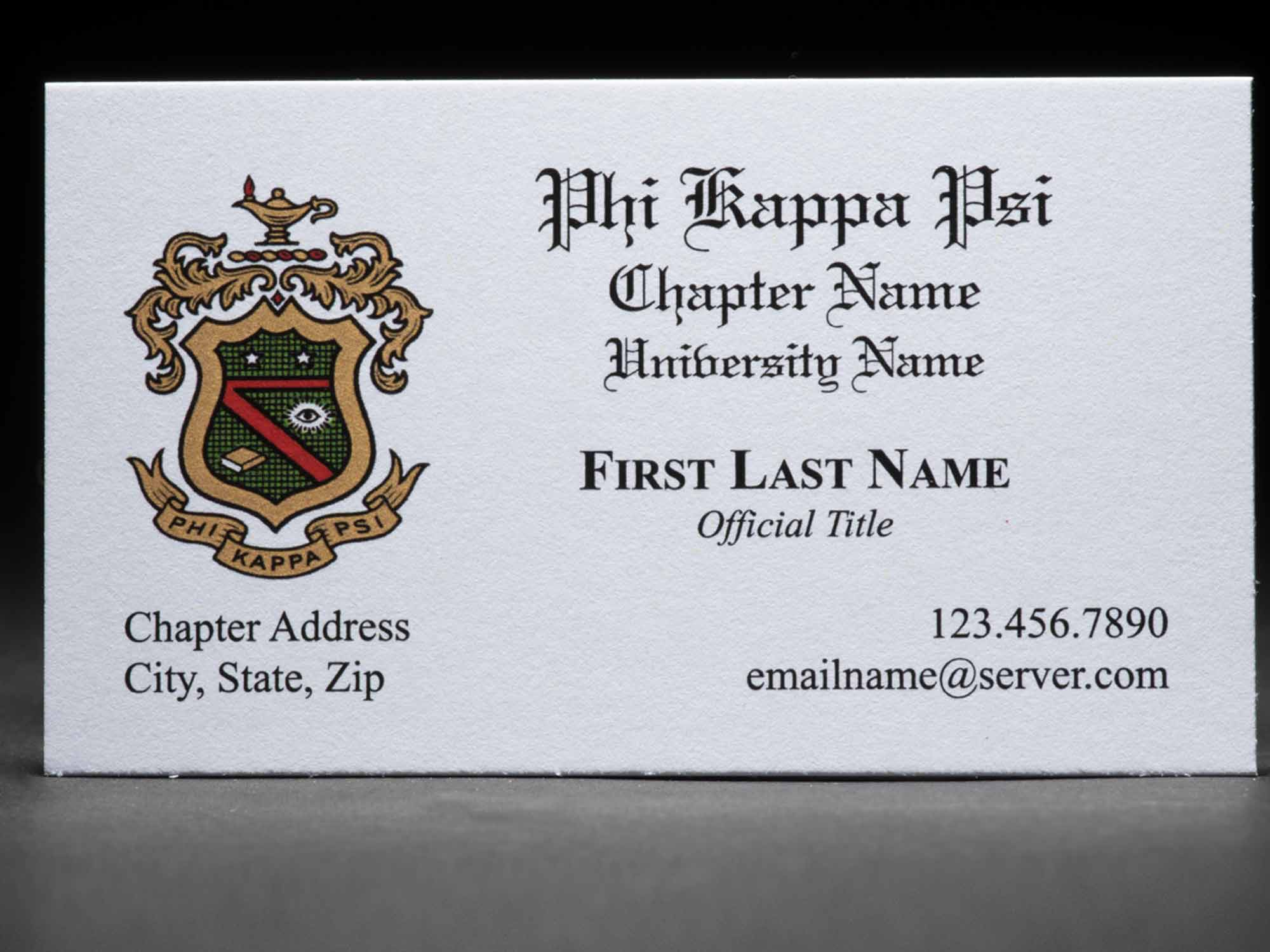 Business Cards Phi Kappa Psi