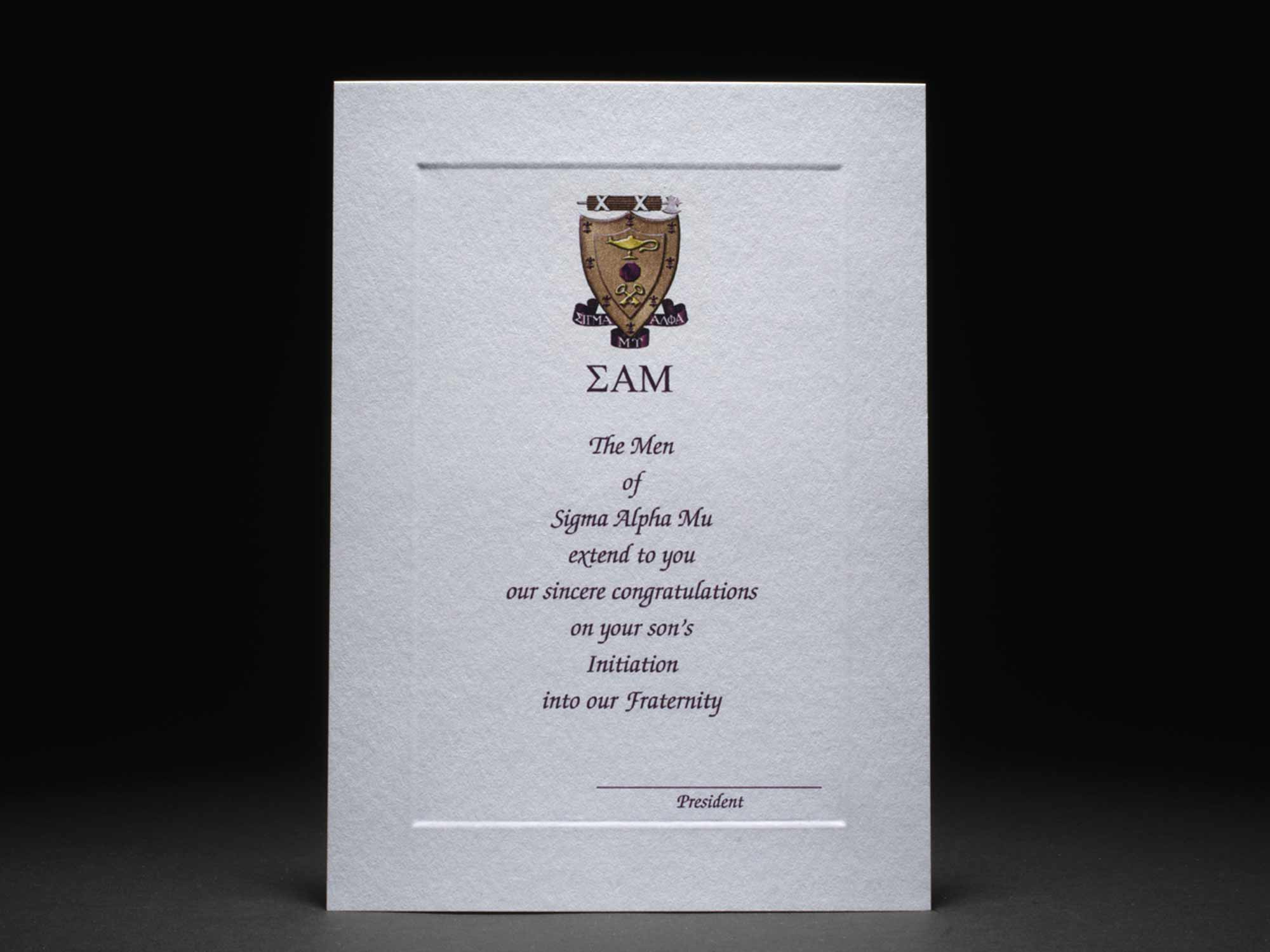 Parent Congratulations Card New Initiation Sigma Alpha Mu