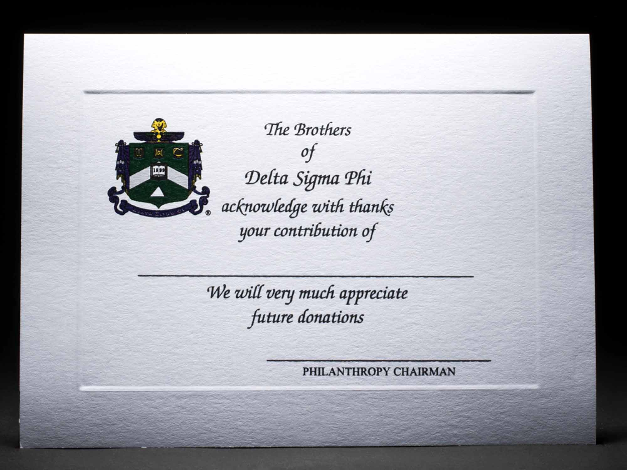 Donation Thank You Cards Delta Sigma Phi
