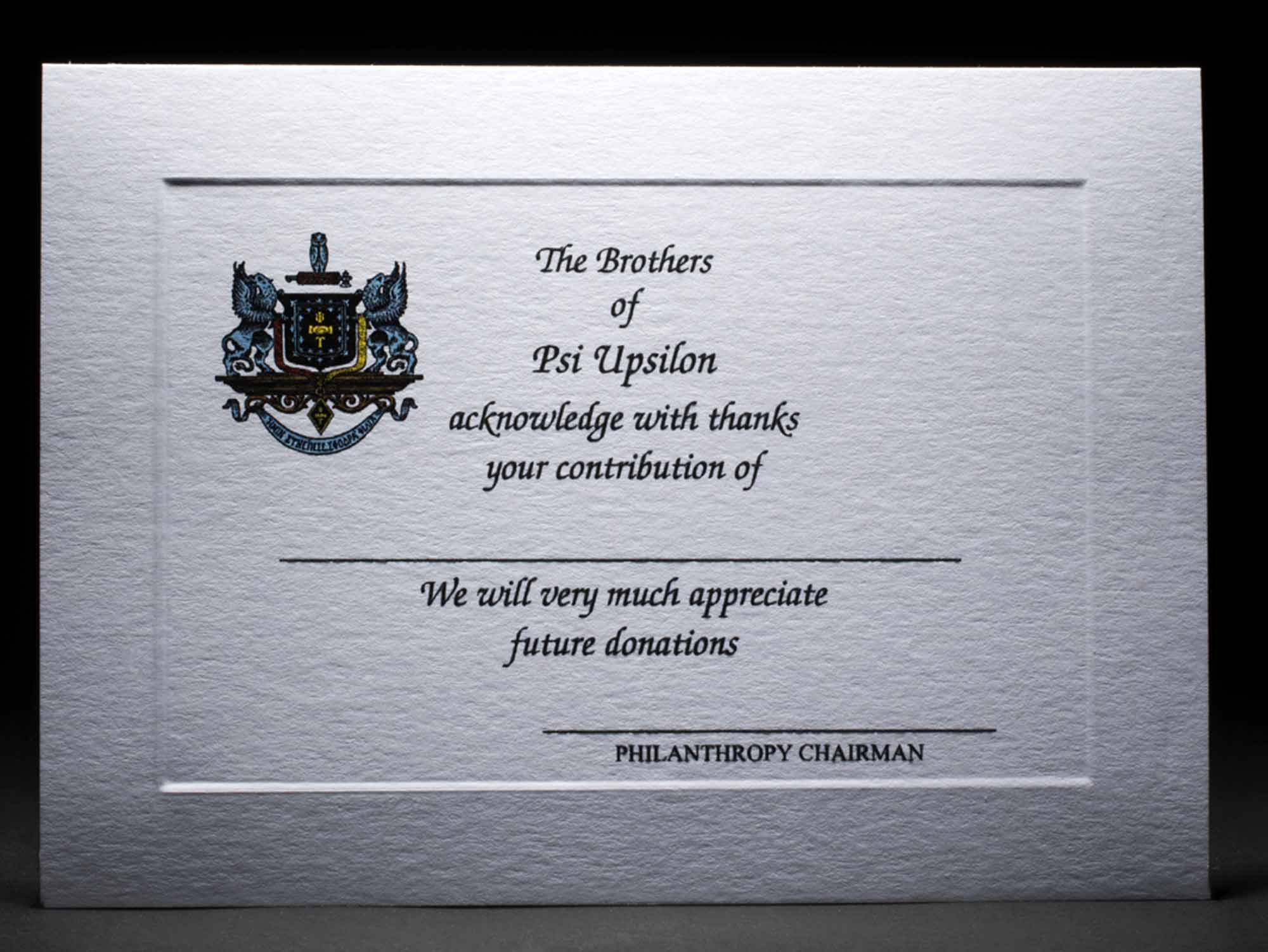 Full Color Donation Thank You Cards Psi Upsilon