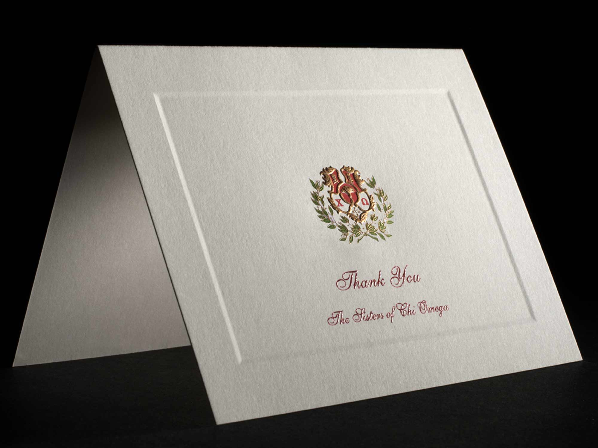 Engraved Thank You Cards Chi Omega
