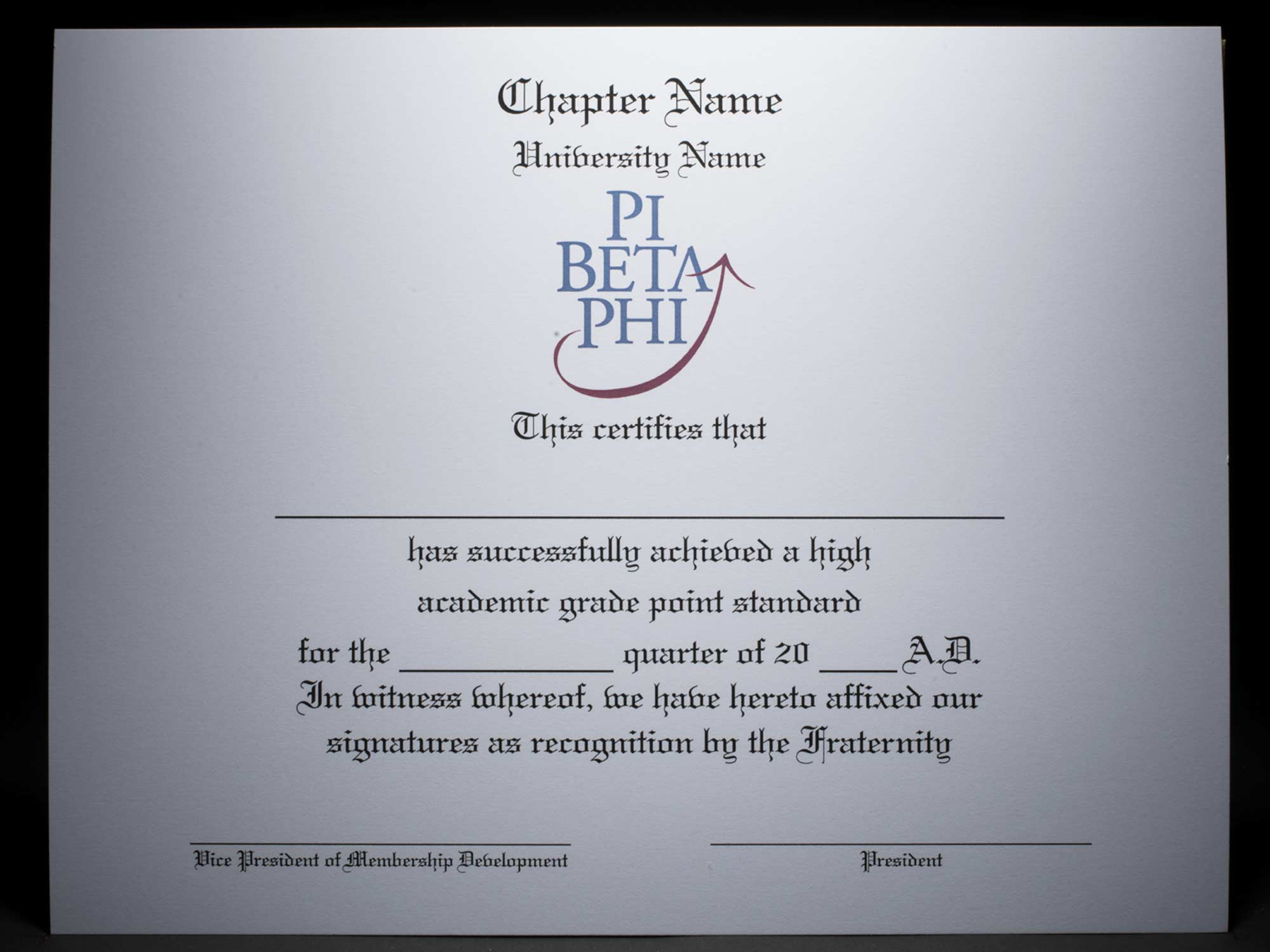 Academic Achievement Certificates Official Branding Pi Beta Phi